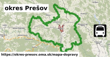 ikona okres Prešov: 711km trás mapa-dopravy  okres-presov