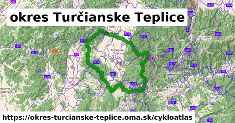 ikona okres Turčianske Teplice: 184km trás cykloatlas  okres-turcianske-teplice