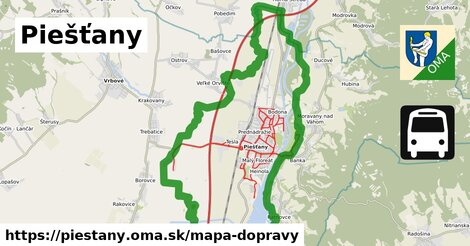 ikona Piešťany: 154km trás mapa-dopravy  piestany