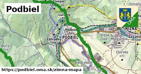 ikona Podbiel: 3,9km trás zimna-mapa  podbiel