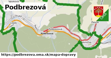 ikona Podbrezová: 5,4km trás mapa-dopravy  podbrezova