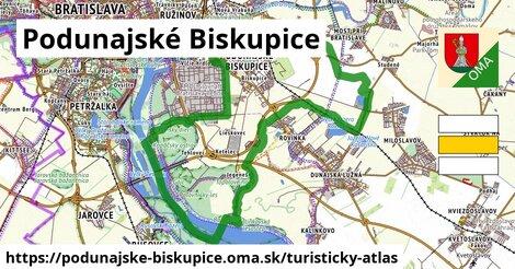 ikona Podunajské Biskupice: 10,9km trás turisticky-atlas  podunajske-biskupice