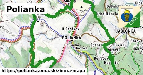 ikona Polianka: 2,3km trás zimna-mapa  polianka