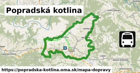 ikona Popradská kotlina: 281km trás mapa-dopravy  popradska-kotlina