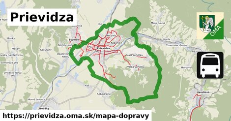 ikona Prievidza: 134km trás mapa-dopravy  prievidza