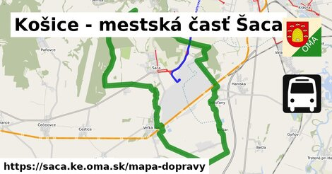 ikona Košice - mestská časť Šaca: 77km trás mapa-dopravy  saca.ke