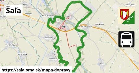 ikona Šaľa: 5,1km trás mapa-dopravy  sala