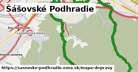 ikona Šášovské Podhradie: 16km trás mapa-dopravy v sasovske-podhradie