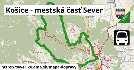 ikona Košice - mestská časť Sever: 56km trás mapa-dopravy  sever.ke