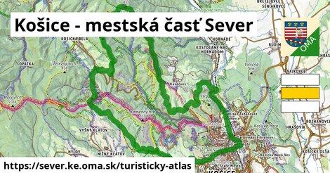 ikona Košice - mestská časť Sever: 134km trás turisticky-atlas  sever.ke
