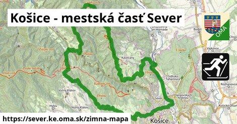 ikona Košice - mestská časť Sever: 32km trás zimna-mapa  sever.ke