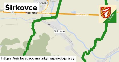 ikona Širkovce: 2,5km trás mapa-dopravy  sirkovce