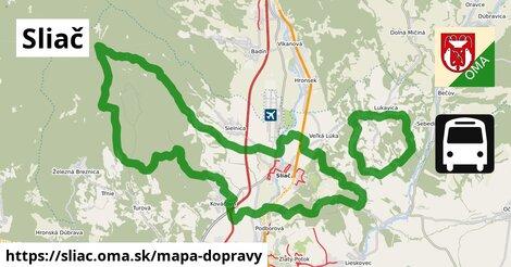ikona Sliač: 16km trás mapa-dopravy  sliac