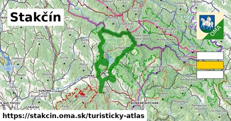 ikona Stakčín: 13,5km trás turisticky-atlas  stakcin