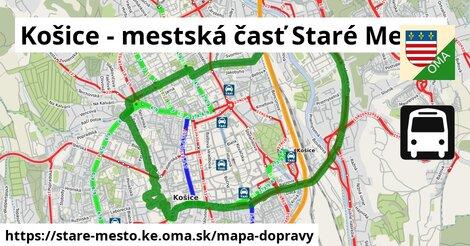 ikona Košice - mestská časť Staré Mesto: 144km trás mapa-dopravy  stare-mesto.ke
