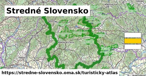 ikona Stredné Slovensko: 7,66tisíckm trás turisticky-atlas  stredne-slovensko