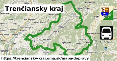 ikona Trenčiansky kraj: 1203km trás mapa-dopravy  trenciansky-kraj