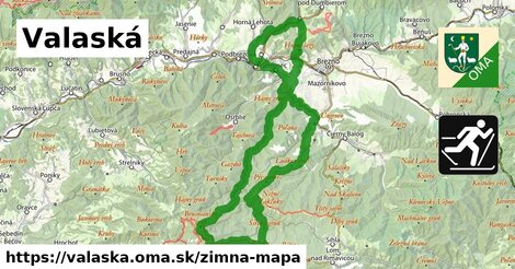 ikona Valaská: 5,4km trás zimna-mapa  valaska