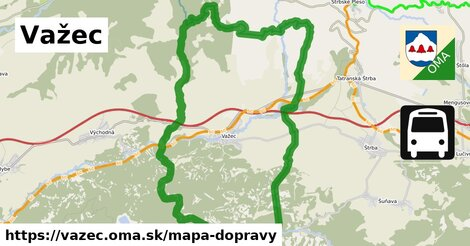 ikona Važec: 15km trás mapa-dopravy  vazec