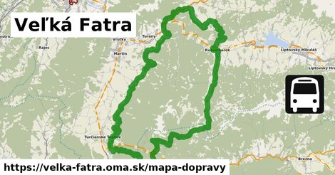 ikona Veľká Fatra: 98km trás mapa-dopravy  velka-fatra