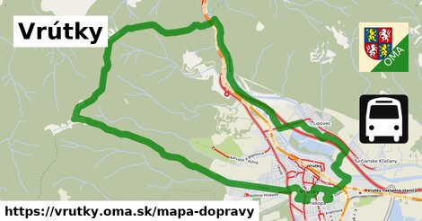 ikona Vrútky: 19km trás mapa-dopravy  vrutky