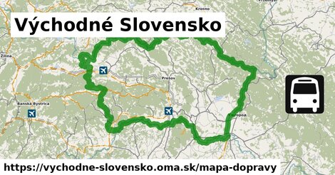 ikona Východné Slovensko: 3609km trás mapa-dopravy  vychodne-slovensko