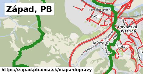ikona Západ, PB: 118km trás mapa-dopravy  zapad.pb