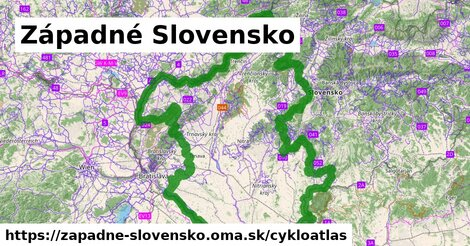 ikona Západné Slovensko: 3919km trás cykloatlas  zapadne-slovensko
