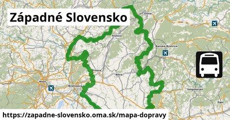 ikona Západné Slovensko: 5,10tisíckm trás mapa-dopravy  zapadne-slovensko