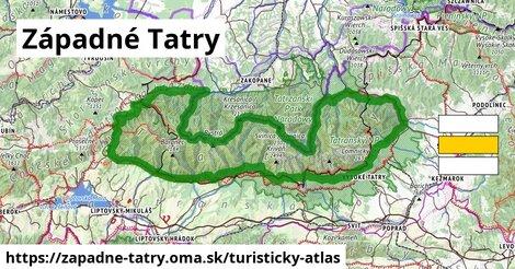 ikona Západné Tatry: 271km trás turisticky-atlas  zapadne-tatry
