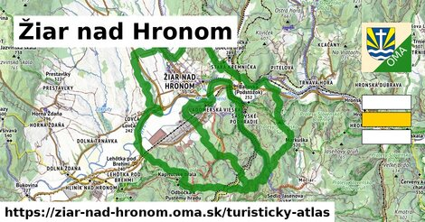 ikona Žiar nad Hronom: 12,4km trás turisticky-atlas  ziar-nad-hronom