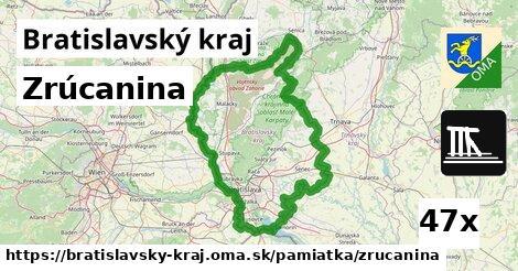 zrúcanina v Bratislavský kraj