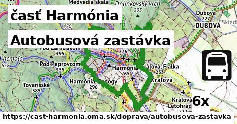 autobusová zastávka v časť Harmónia