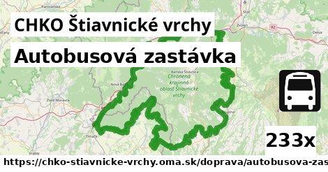 autobusová zastávka v CHKO Štiavnické vrchy