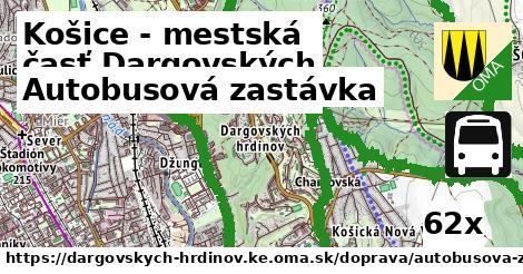 autobusová zastávka v Košice - mestská časť Dargovských hrdinov