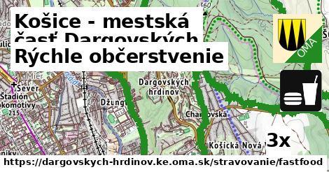 rýchle občerstvenie v Košice - mestská časť Dargovských hrdinov