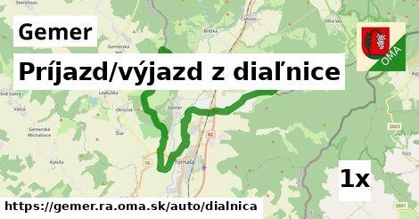 príjazd/výjazd z diaľnice v Gemer, okres RA