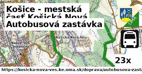 autobusová zastávka v Košice - mestská časť Košická Nová Ves