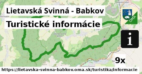 turistické informácie v Lietavská Svinná - Babkov