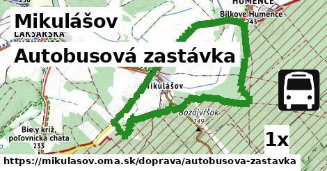 autobusová zastávka v Mikulášov