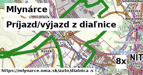 príjazd/výjazd z diaľnice v Mlynárce