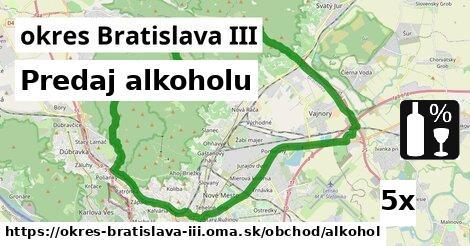 Predaj alkoholu, okres Bratislava III