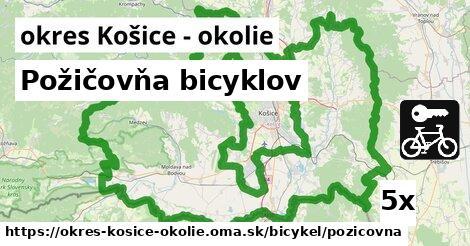 Požičovňa bicyklov, okres Košice - okolie