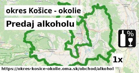 Predaj alkoholu, okres Košice - okolie
