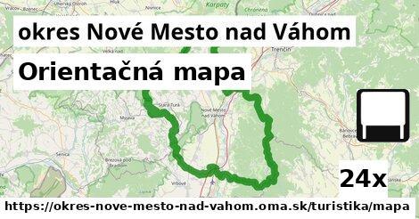 orientačná mapa v okres Nové Mesto nad Váhom