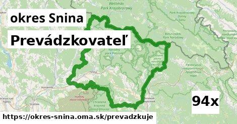 prevádzkovateľ v okres Snina