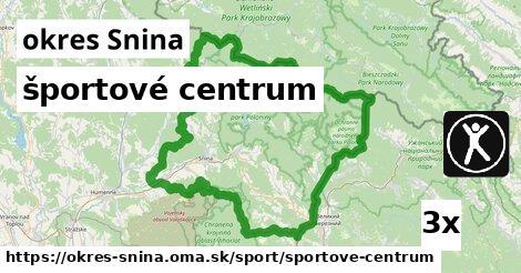 športové centrum, okres Snina