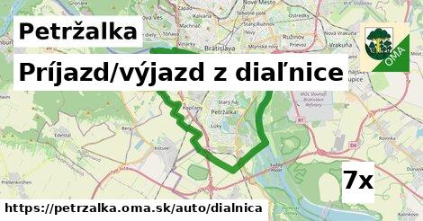 príjazd/výjazd z diaľnice v Petržalka
