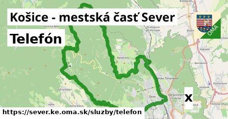 telefón v Košice - mestská časť Sever