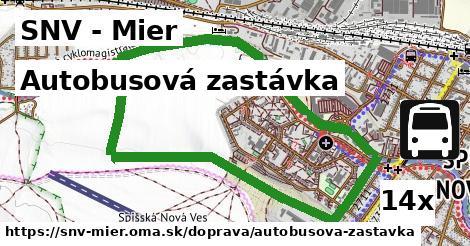autobusová zastávka v SNV - Mier